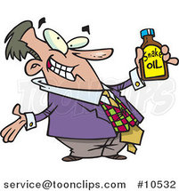 Cartoon Business Man Holding Snake Oil by Ron Leishman