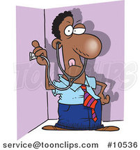 Cartoon Snooping Black Business Man Holding a Stethoscope to a Wall by Ron Leishman