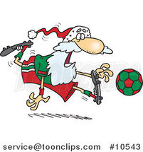 Cartoon Santa Playing Soccer by Ron Leishman