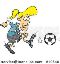 Cartoon Soccer Girl Kicking by Ron Leishman