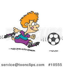 Cartoon Boy Running After a Soccer Ball by Ron Leishman