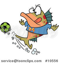Cartoon Fish Playing Soccer by Ron Leishman