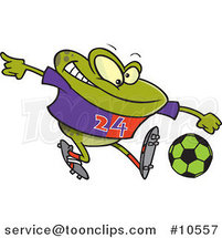 Cartoon Frog Playing Soccer by Ron Leishman