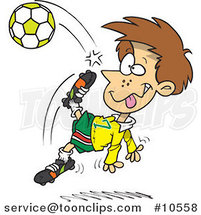 Cartoon Boy Doing a Soccer Kick by Ron Leishman