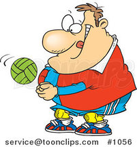 Cartoon Chubby Volleyball Player Hitting a Ball by Ron Leishman