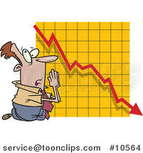 Cartoon Business Man Praying by a Failing Chart by Ron Leishman
