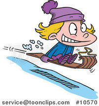 Cartoon Girl Sledding by Ron Leishman