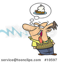 Cartoon Guy Smelling Pie by Ron Leishman