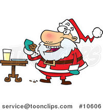 Cartoon Santa Eating Cookies by Ron Leishman