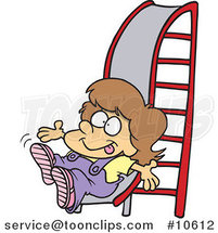 Cartoon Girl on a Slide by Ron Leishman