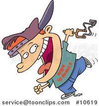 Cartoon Boy Carrying a Slingshot by Ron Leishman