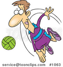 Cartoon Volleyball Player Hitting a Ball by Ron Leishman