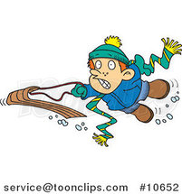Cartoon Winter Boy Falling off His Sled by Ron Leishman