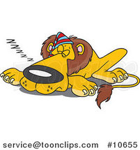 Cartoon Sleeping Lion Wearing a Cap by Toonaday