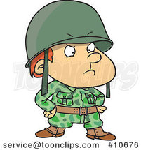 Cartoon Strict Soldier Boy by Ron Leishman