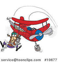 Cartoon Pilot Hanging on His Biplane by Ron Leishman