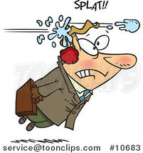 Cartoon Business Man Being Hit with a Snowball by Ron Leishman