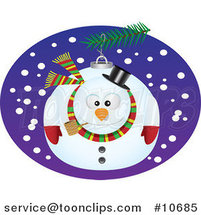 Cartoon Snowman Bauble by Ron Leishman