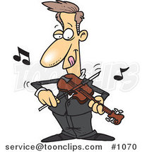Cartoon Guy Standing and Playing a Violin by Ron Leishman