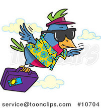Cartoon Traveling Bird Flying with Luggage by Toonaday