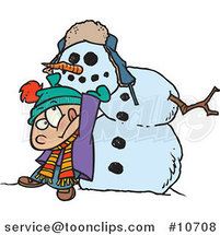Cartoon Boy Putting a Head on a Snowman by Ron Leishman