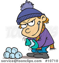 Cartoon Boy Gathering Snowballs for a Fight by Ron Leishman