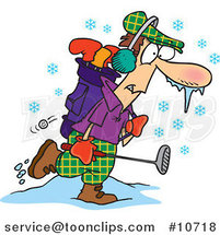 Cartoon Winter Golfer by Ron Leishman