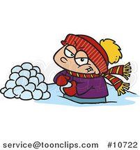 Cartoon Boy Making Snowballs for a Fight by Ron Leishman
