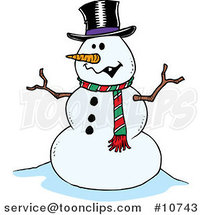 Cartoon Friendly Snowman by Toonaday