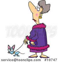 Cartoon Snotty Lady Walking Her Tiny Dog by Ron Leishman