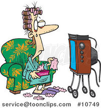 Cartoon Lady Watching a Soap Opera with Tissues by Ron Leishman
