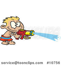 Cartoon Boy Spraying a Soaker Gun by Ron Leishman