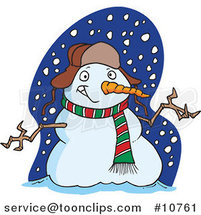 Cartoon Welcoming Snowman by Toonaday