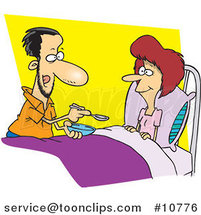 Cartoon Guy Spoon Feeding His Wife by Ron Leishman