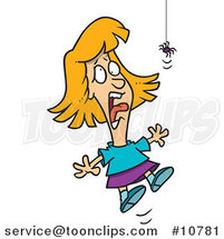 Cartoon Girl Screaming at a Spider by Ron Leishman