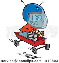 Cartoon Boy Pretending to Ride a Space Wagon by Ron Leishman