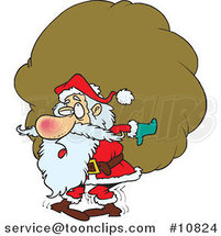 Cartoon Santa Carrying a Heavy Sack by Ron Leishman