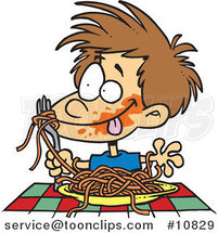 Cartoon Messy Boy Chowing down on Spaghetti by Ron Leishman