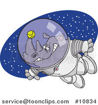 Cartoon Rhino Astronaut with a Tennis Ball by Toonaday