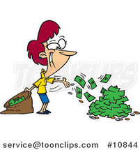 Cartoon Business Woman Spending Cash by Toonaday