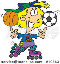 Cartoon Sporty Girl Roller Blading with a Basketball and Soccer Ball by Ron Leishman