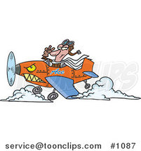 Cartoon Pilot Flying an Ace Plane by Ron Leishman