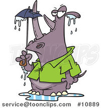 Cartoon Rhino Puncturing an Umbrella with His Horn by Ron Leishman