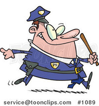 Cartoon Chubby Running Cop by Ron Leishman