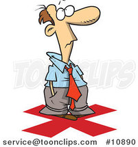 Cartoon Business Man Standing on an X by Ron Leishman