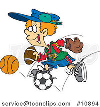 Cartoon Sporty Boy with a Baseball Glove, Basketball, Football and Soccer Ball by Ron Leishman