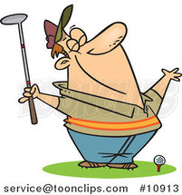 Cartoon Spring Golfer Smelling the Air by Ron Leishman