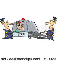 Cartoon Cops with a Robber in a Squad Car by Ron Leishman