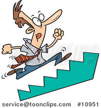 Cartoon Business Man Running up Stairs by Ron Leishman