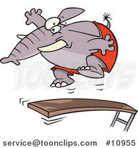 Cartoon Elephant Jumping on a Diving Board by Toonaday